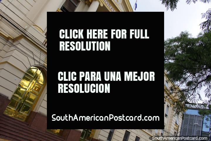 Banco Nacional de Fomento, awesome historic building with gold doors in Asuncion. (720x480px). Paraguay, South America.