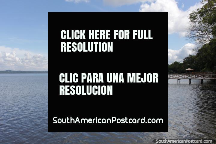 Lake Ypacarai at San Bernardino, private jetty on a nice day. (720x480px). Paraguay, South America.