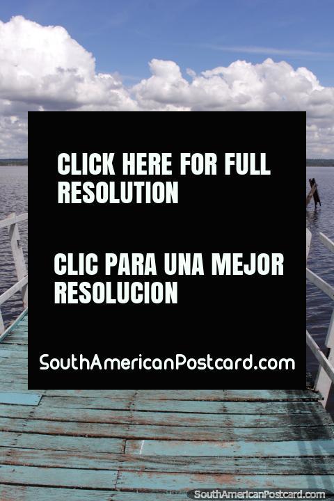 Embarcadero en el Lago Ypacaraí, en San Bernardino, distante de arbustos de la tierra. (480x720px). Paraguay, Sudamerica.