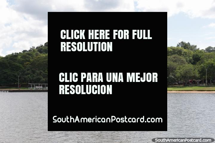 Hotel de Sol dominates the view in San Bernardino, view from the lake. (720x480px). Paraguay, South America.