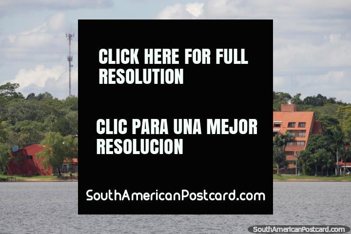 Hotel or apartments on the edge of Lake Ypacarai at San Bernardino. (720x480px). Paraguay, South America.