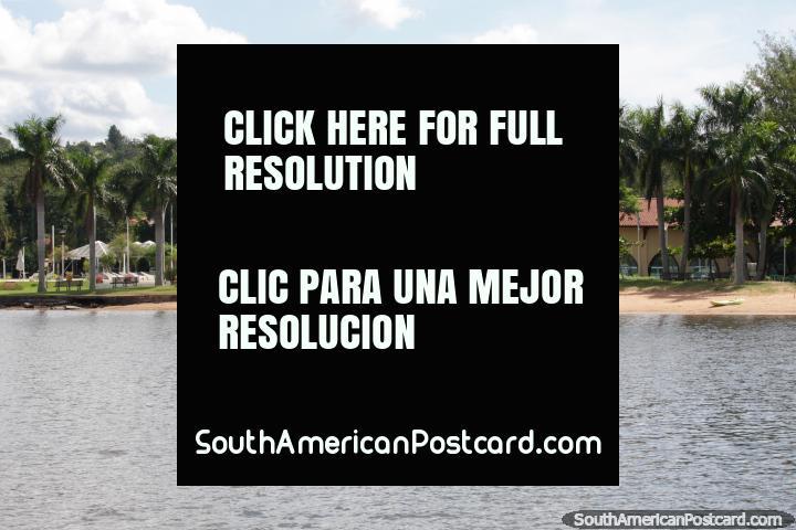 Hermosas palmeras detrás de una playa en el lago en San Bernardino. (720x480px). Paraguay, Sudamerica.