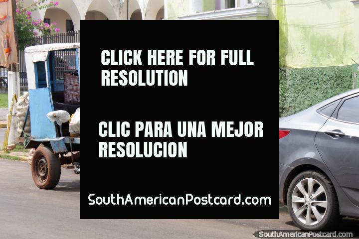 Caballo tiene un resto bajo una paragua antes de tirar de su carro de nuevo, Villarrica. (720x480px). Paraguay, Sudamerica.