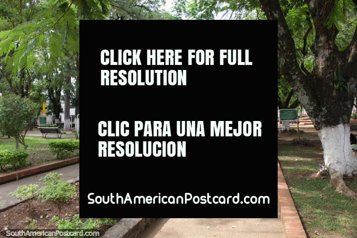 Praça dos Heroes em Villarrica, muitas árvores e sombra. (720x480px). Paraguai, América do Sul.