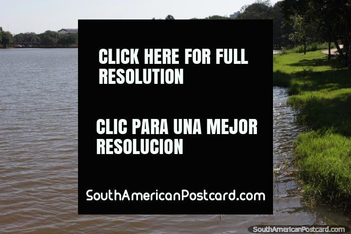 The banks of Lago de la Republica in Ciudad del Este, quite deserted. (720x480px). Paraguay, South America.