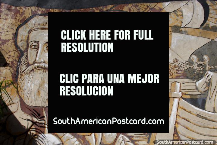 A pair of bearded wisemen, sculptured mural in Ciudad del Este. (720x480px). Paraguay, South America.