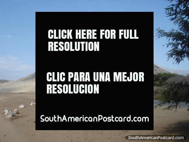 Montaña de Cerro Blanco en el lado del sur del valle de Moche en Trujillo. (640x480px). Perú, Sudamerica.