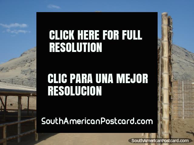 Huaca de la Luna stands/stood at the foot of Cerro Blanco in Trujillo. (640x480px). Peru, South America.