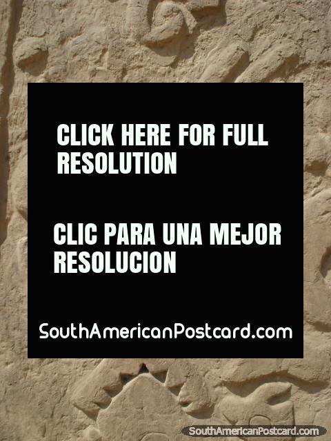 Huaca el Dragon wall design close-up. (480x640px). Peru, South America.