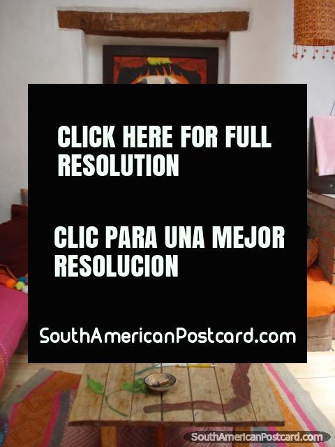 The lounge area of La Casa de San Pedro. (480x640px). Peru, South America.