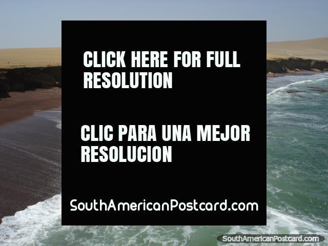 The amazing red-stone beach and views of Paracas National Park. (640x480px). Peru, South America.