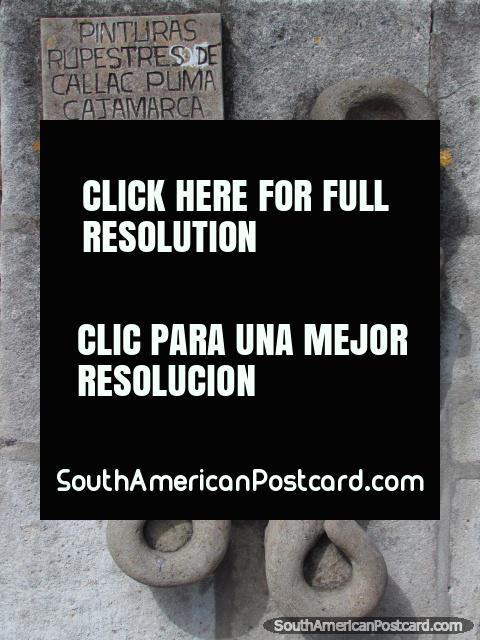 Pinturas Rupestres de Callac Puma, entalho de pedra em Cajamarca. (480x640px). Peru, América do Sul.