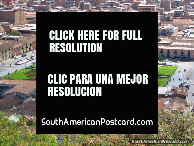 View of the Plaza de Armas from Cerro Santa Apolonia in Cajamarca. (640x480px). Peru, South America.