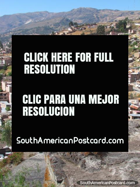 Silla del Inca, Seat of the Inca on the top of Cerro Santa Apolonia in Cajamarca. (480x640px). Peru, South America.