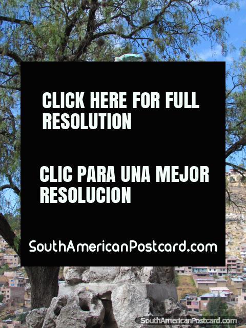 Bronze monument at top of Cerro Santa Apolonia hill in Cajamarca. (480x640px). Peru, South America.