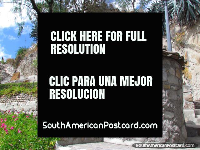 Tiled roof rock hut at Cerro Santa Apolonia historical area, Cajamarca. (640x480px). Peru, South America.
