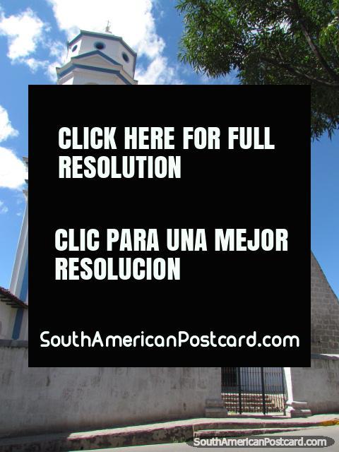White and blue church beside Plazuela de las Monjas, Cajamarca. (480x640px). Peru, South America.