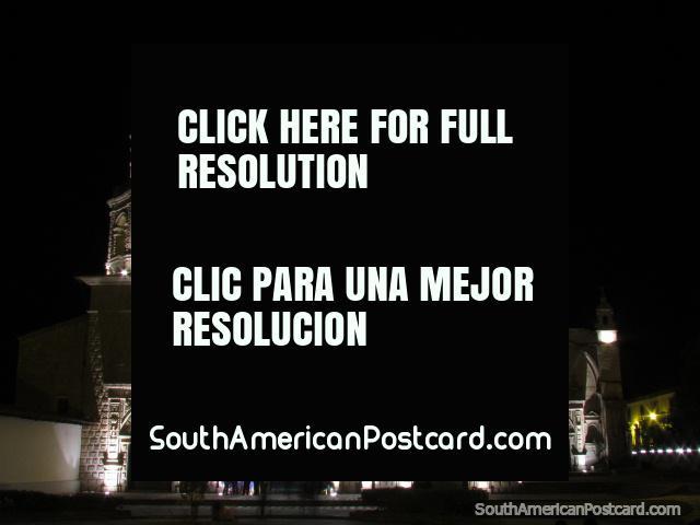 Iglesia San Francisco in Cajamarca at night. (640x480px). Peru, South America.