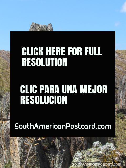 2 spectacular huge rock figures at Cumbemayo in Cajamarca. (480x640px). Peru, South America.