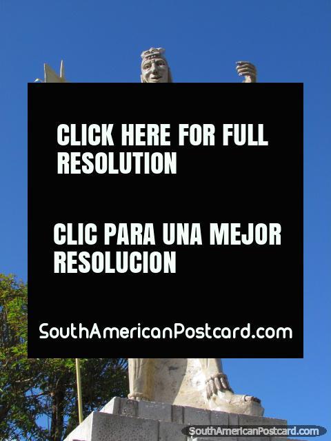 Inca warrior with spear monument at Banos del Inca in Cajamarca. (480x640px). Peru, South America.