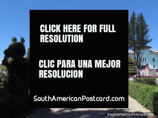 Cobblestone walkway and tree-figures, Huamachuco plaza. (640x480px). Peru, South America.