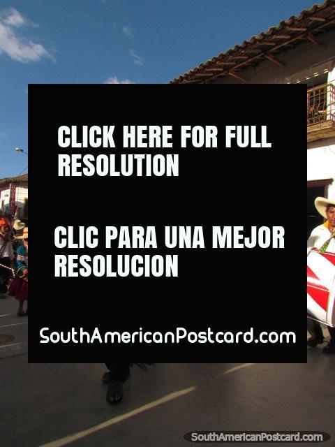Indian feather dance at Feria Patronal in Huamachuco. (480x640px). Peru, South America.