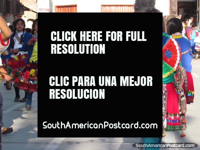 Girls in traditional Peruvian clothes perform at Feria Patronal in Huamachuco. (640x480px). Peru, South America.