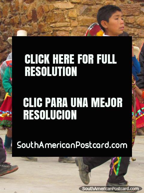 Kids in colorful costumes at festival in Huamachuco. (480x640px). Peru, South America.