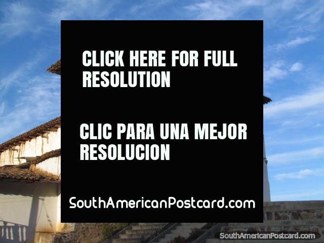 The white Mollepata church with dual belltowers. (640x480px). Peru, South America.