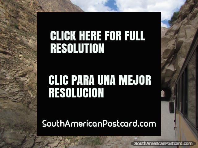 Through a tunnel between Huallanca and Caraz. (640x480px). Peru, South America.