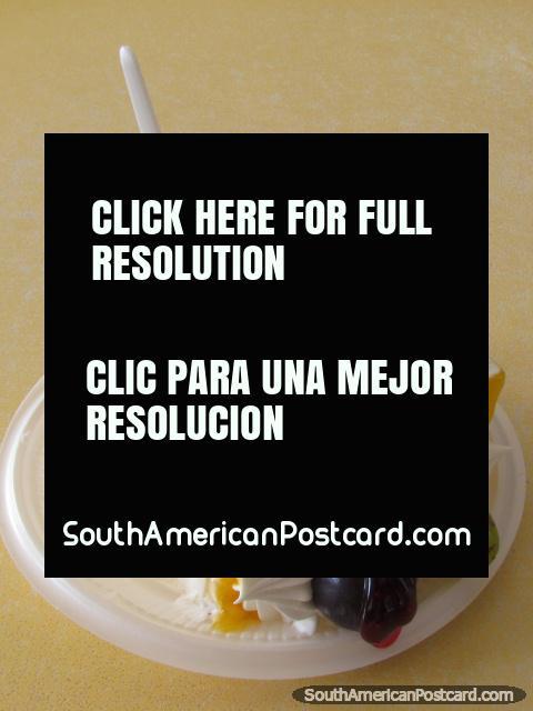 Sponge cake with cream bought in Caraz. (480x640px). Peru, South America.