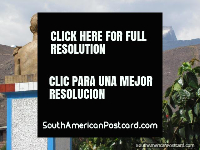 Jose de San Martin looks towards the snowy mountains in Caraz. (640x480px). Peru, South America.