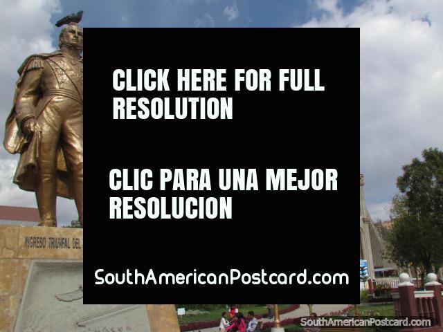 Church and monument at Plaza de Armas in Huaraz. (640x480px). Peru, South America.