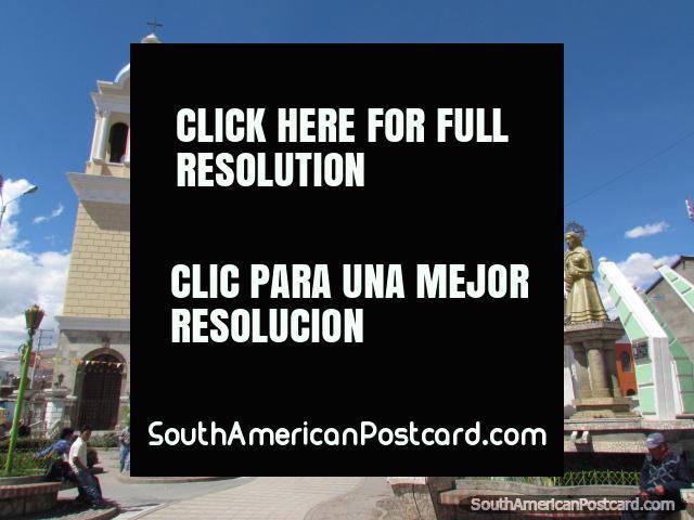Parque Inmaculada, park, statue and church in Huancayo. (640x480px). Peru, South America.