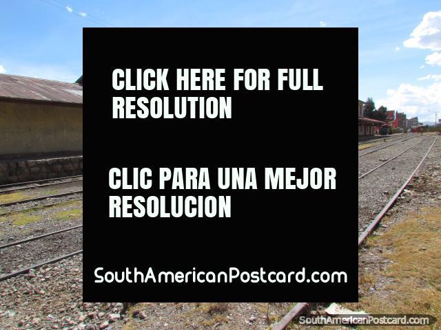 The train tracks at Huancayo railway station. (640x480px). Peru, South America.