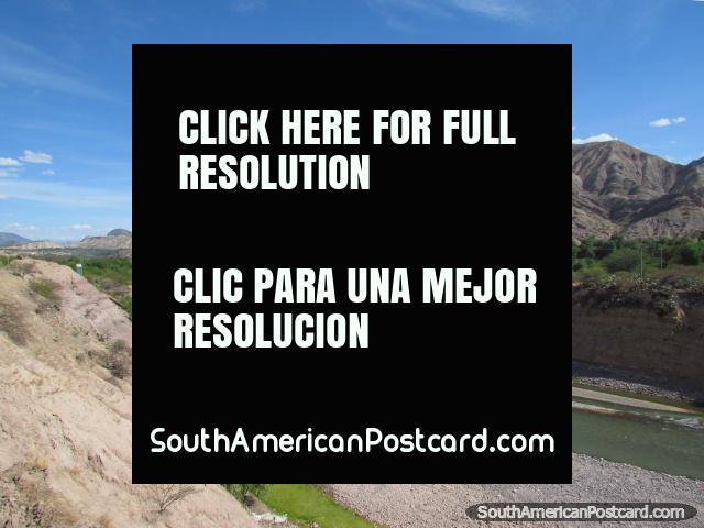 The open river basin and hills near Huanta. (640x480px). Peru, South America.