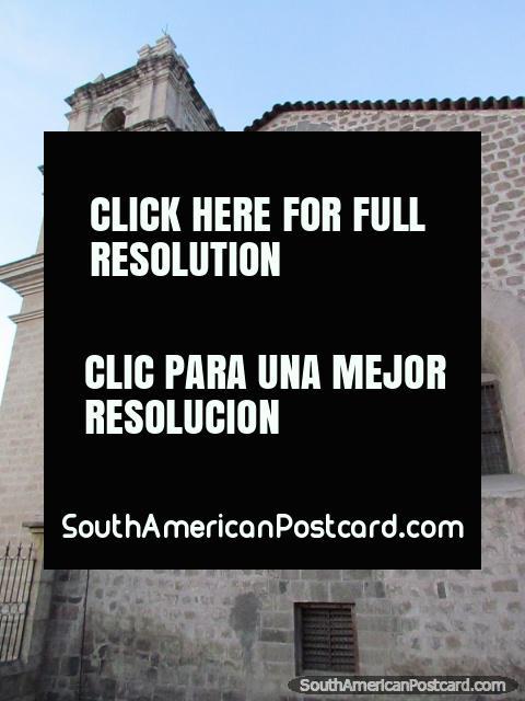 Grey stone church Santa Clara (1568) in Ayacucho. (480x640px). Peru, South America.