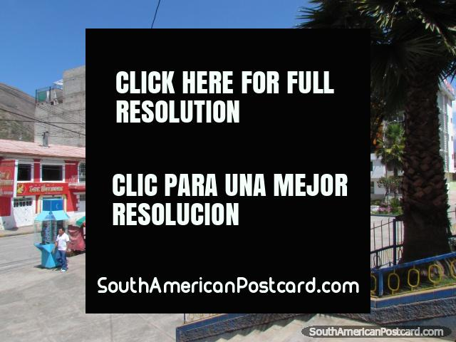 Shops and hotels around Plaza Micaela Bastidas in Abancay. (640x480px). Peru, South America.
