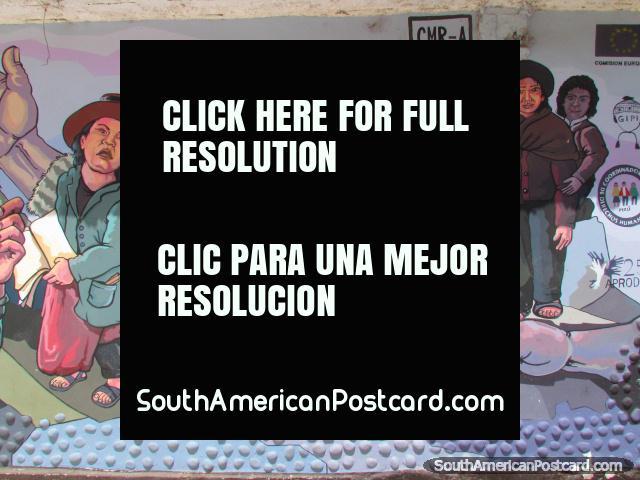 Mural das pessoas local em uma parede em Abancay. (640x480px). Peru, América do Sul.