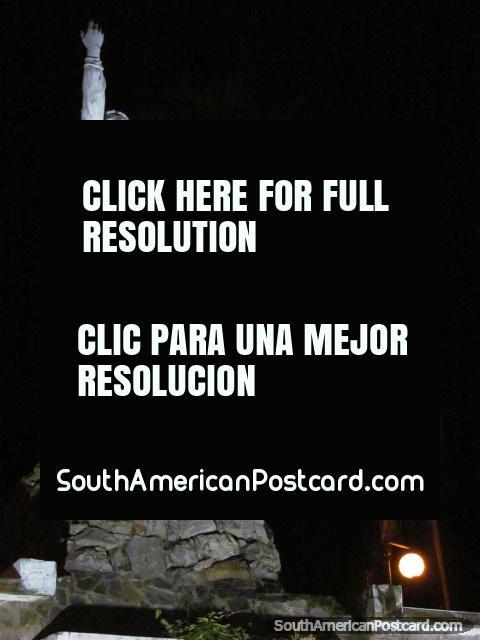 Micaela Bastidas statue at night, Abancay. (480x640px). Peru, South America.