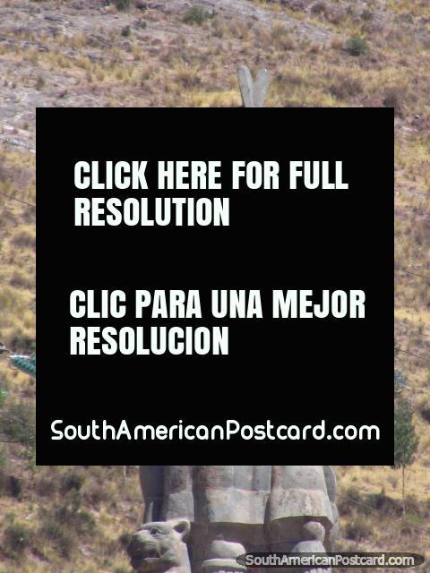 Inca warrior monument on the hillside in Cusco. (480x640px). Peru, South America.