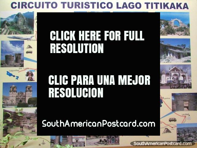 Map Of The Tourist Circuit Around Lake Titicaca And Puno Photo From