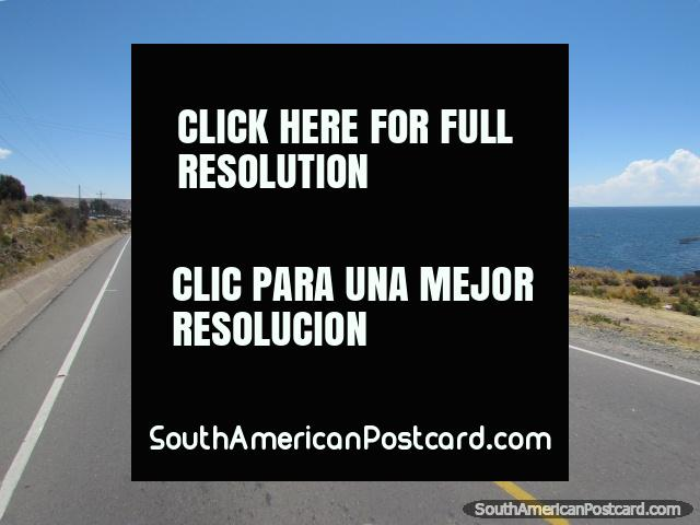 The road beside Lake Titicaca from Puno to Yunguyo. (640x480px). Peru, South America.