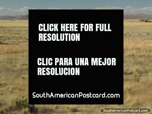 Trator azul com trailer vermelho entre Paucarcolla e Juliaca. (640x480px). Peru, América do Sul.