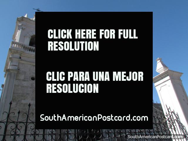 White stone church Parroquial de Santa Marta in Arequipa. (640x480px). Peru, South America.