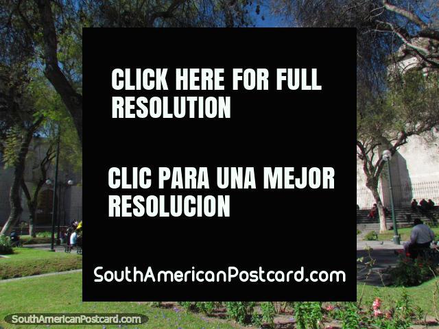 A nice park in Arequipa, Plaza San Francisco. (640x480px). Peru, South America.