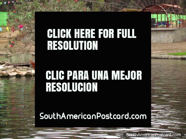 Remando con pala alrededor de la laguna en una barca en parque Vivero Forestal, Chimbote. (640x480px). Perú, Sudamerica.