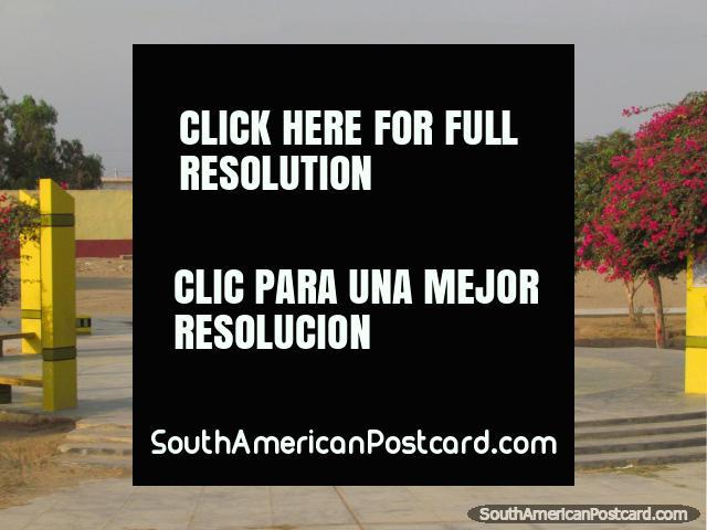 Praça pública com flores rosa em Ucupe, ao sul de Chiclayo. (640x480px). Peru, América do Sul.