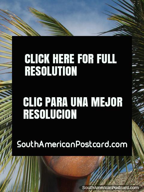 A cara de madeira esculpida e a palma partem em Mancora. (480x640px). Peru, América do Sul.