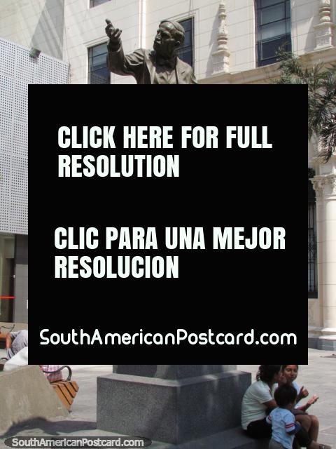 Plazuela San Pedro, statue of Victor A. Belaunde, Lima. (480x640px). Peru, South America.